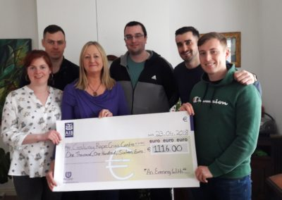 Presentation of Cheque from GMIT students who organised ''An Evening with..'' in aid of GRCC
