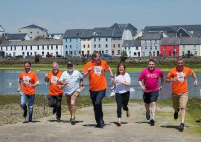 Ronan Scully pictured with the Mayor Neil McNeilis and participants of his 'Bay to Bay' 300km walk 2018.